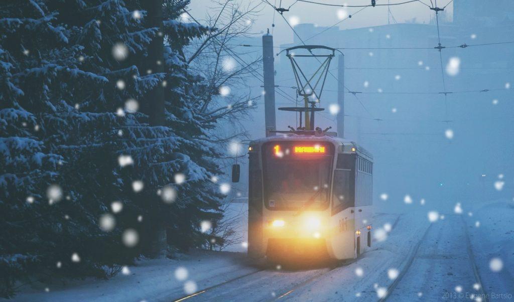 Златоустовский трамвай зима